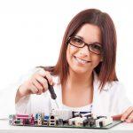 Girl Computer Repair Technician smiling