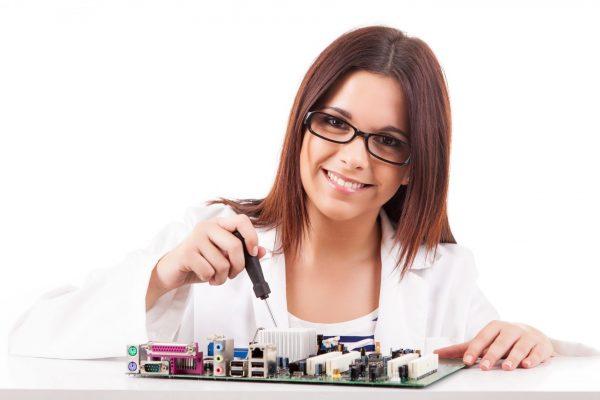 Girl computer repair technician
