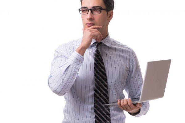 man considering hiring computer repair company